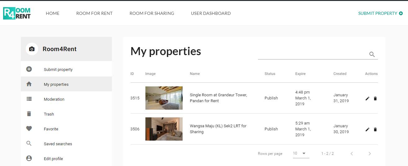 Room4Rent-Malaysia-user-dashboard